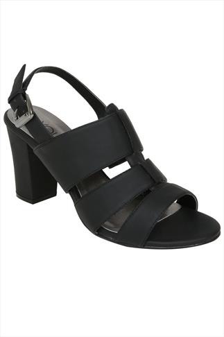 Black Gladiator Style Sandals With Block Heel In EEE Fit