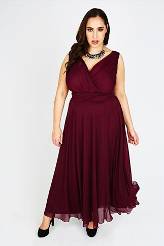SCARLETT & JO Cranberry Chiffon Maxi Dress