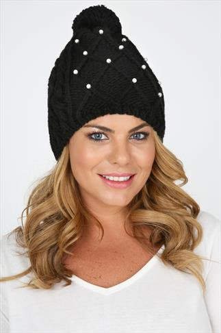 Black Knitted Bobble Hat With Pearl Embellishment