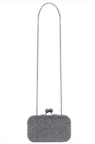 Grey Sparkle Hardcase Box Clutch With Detachable Chain