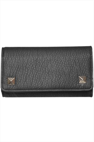 Black Textured PU Purse With Gold Stud Popper Buttons