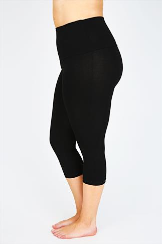 Black TUMMY CONTROL Cropped Leggings