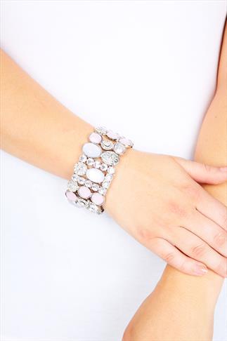 Pastel Pink & Lilac Jewel Stone Stretch Bracelet