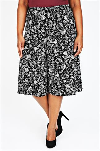 Black & White All Over Paisley Print Jersey Culottes