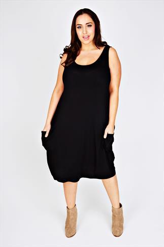 Black Drape Pocket Sleeveless Dress