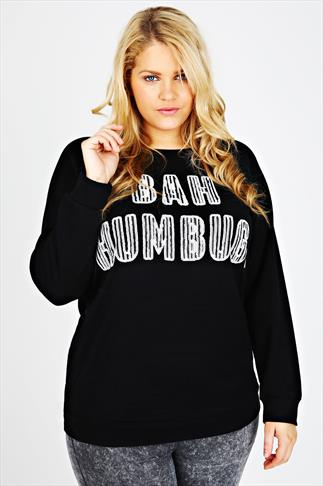 Black Sequin Embellished 'BAH HUMBUG' Christmas Sweat Top