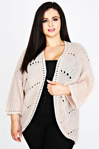 Pale Pink Knitted Cocoon Cardigan With ¾ Kimono Sleeves