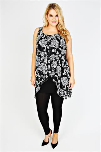 Black & White Oriental Floral Print Chiffon Overlay Tunic Dress