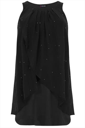 Black Diamanté Chiffon Overlay Tunic Dress