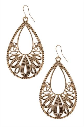 Gold Oval Filigree Earrings