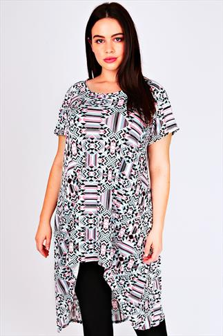 White, Pink & Green Geo Print Oversized Top With Extreme Dipped Hem
