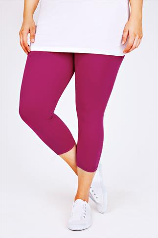 Magenta Pink Cotton Elastane Cropped Leggings