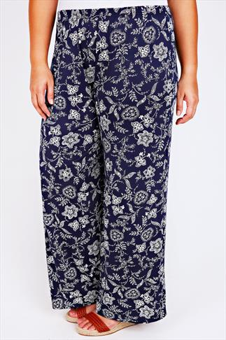 Navy & White Dotted Floral Print Palazzo Trousers