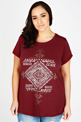 Burgundy Short Sleeve Top With Aztec Print