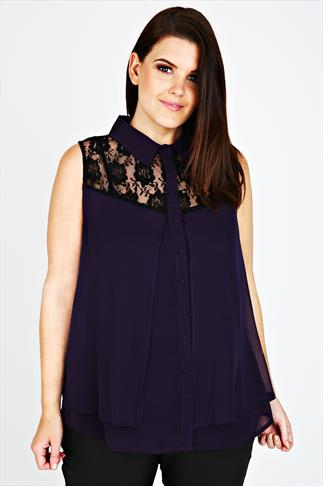Purple Sleeveless Blouse With Black Lace Detail