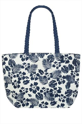 Navy And White Floral Print Shopper Bag