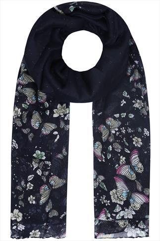 Navy Glitter Butterfly Print Scarf