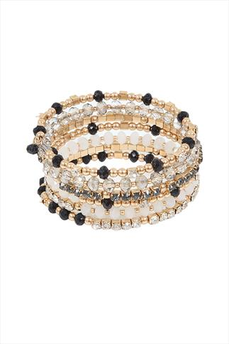 Gold Bead And Crystal Coil Bracelet