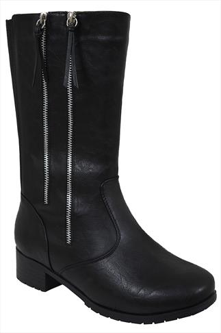 Black Double Zip Detail 3/4 Length Biker Boot In EEE Fit