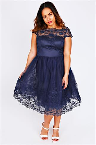 CHI CHI LONDON Navy Sweetheart Embroidered Prom Dress
