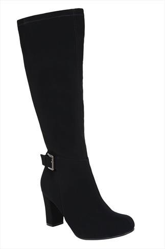 Black Knee High Microfibre Stretch Boots With Buckle & Block Heel in EEE Fit