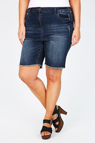 Indigo Blue Denim Shorts With Raw Hem