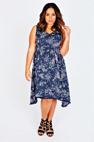 Blue Floral Print Hanky Hem Dress  With Crochet Neckline