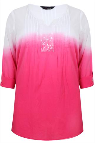 White & Pink Dip Dye Cotton Blouse With Sequin Detail