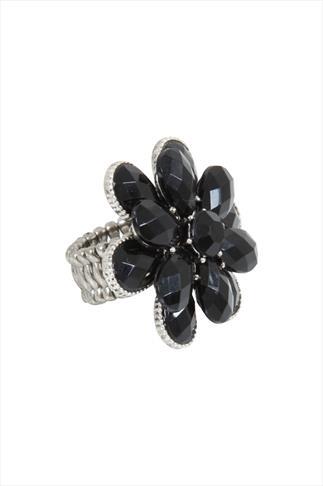 Black Stone Flower Silver Stretch Ring