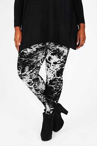 Black And Ecru Splatter Print Viscose Elastane Leggings