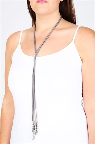 Grey Faux Suede Long Necklace With Silver Bead Pendant