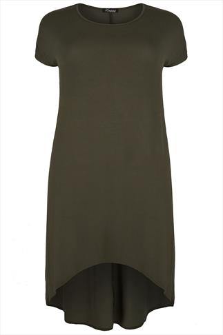 Khaki Oversized Dress With Extreme Dipped Hem