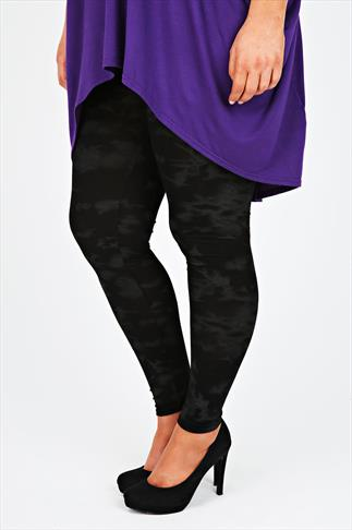 Grey And Black Smudge Print Viscose Elastane Leggings