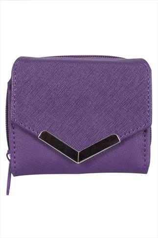 Purple Small Purse With Textured Flap And Metal Trim Detail