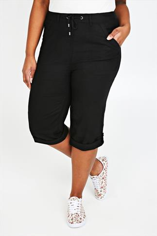 Black Linen Mix Crop Trousers With Tie Detail