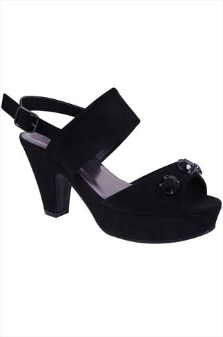 Black Suedette Platform Sandals In EEE Fit