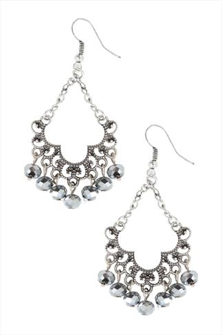 Antique Silver Chandelier Earrings With Bead Details