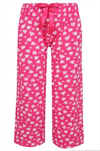 Pink Heart Print Pyjama Full Length Bottoms