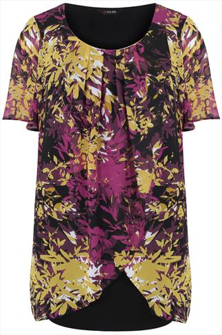 Multi Leaf Print Short Sleeve Chiffon Overlay Tunic Dress