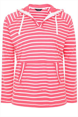 Pink And Cream Stripe Hooded Top With Two open Pockets