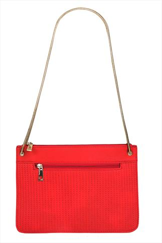 Red Flat Bag With Line Stich Detail & Gold Chain