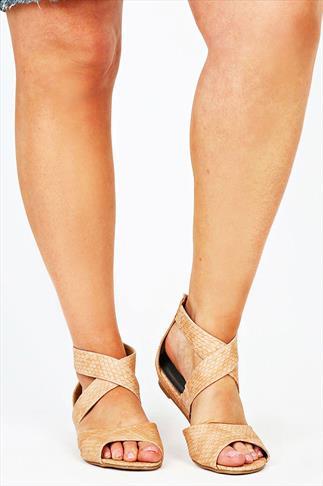Peach Snake Print Gladiator Low Wedge Sandals In EEE Fit
