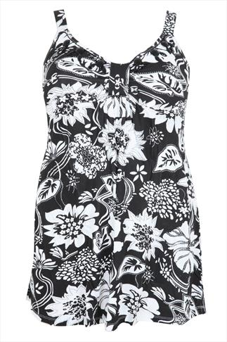 Black & White Tropical Print Camisole With Jewelled Neckline