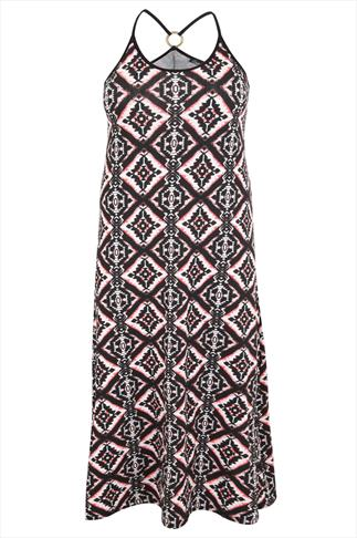 "Aztec Print ""Glastonbury"" Maxi Dress With Gold Ring Detail"