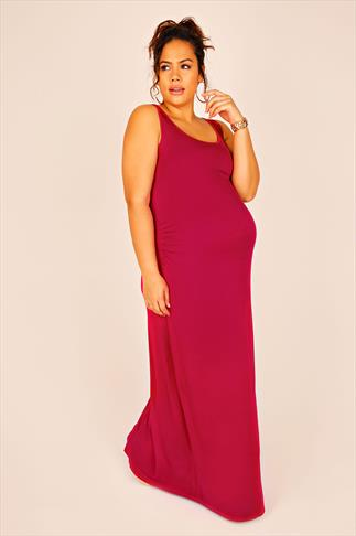 BUMP IT UP MATERNITY Magenta Maxi Dress With Ruched Waist Side Detail