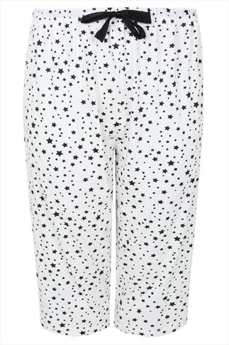 White & Black Star Print Full Length Pyjama Crops