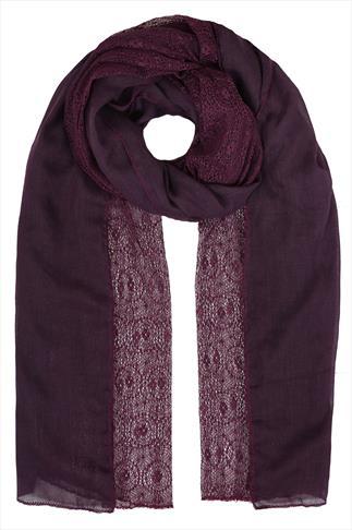 Purple Lace Detail Lightweight Scarf