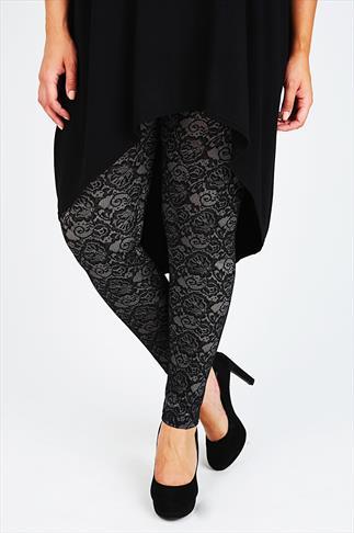 Silver & Black Lace Legging
