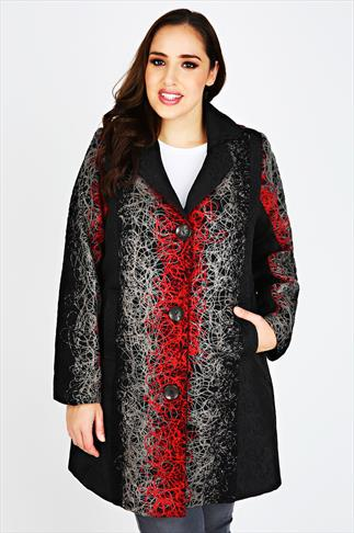 Black & Red Stitch Panel Coat With Collar