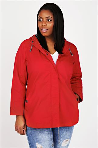 Red Washed Cotton Parka Jacket With Hood